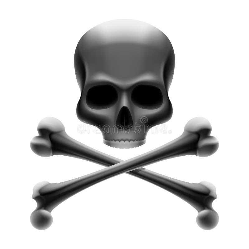 Cranio con le ossa. Roger allegro. Vettore. royalty illustrazione gratis
