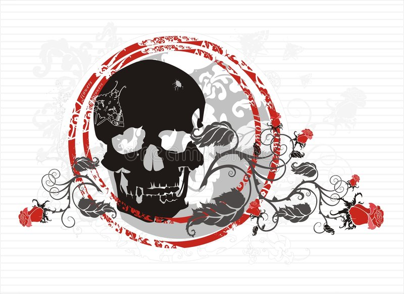 Cranio con le rose illustrazione di stock
