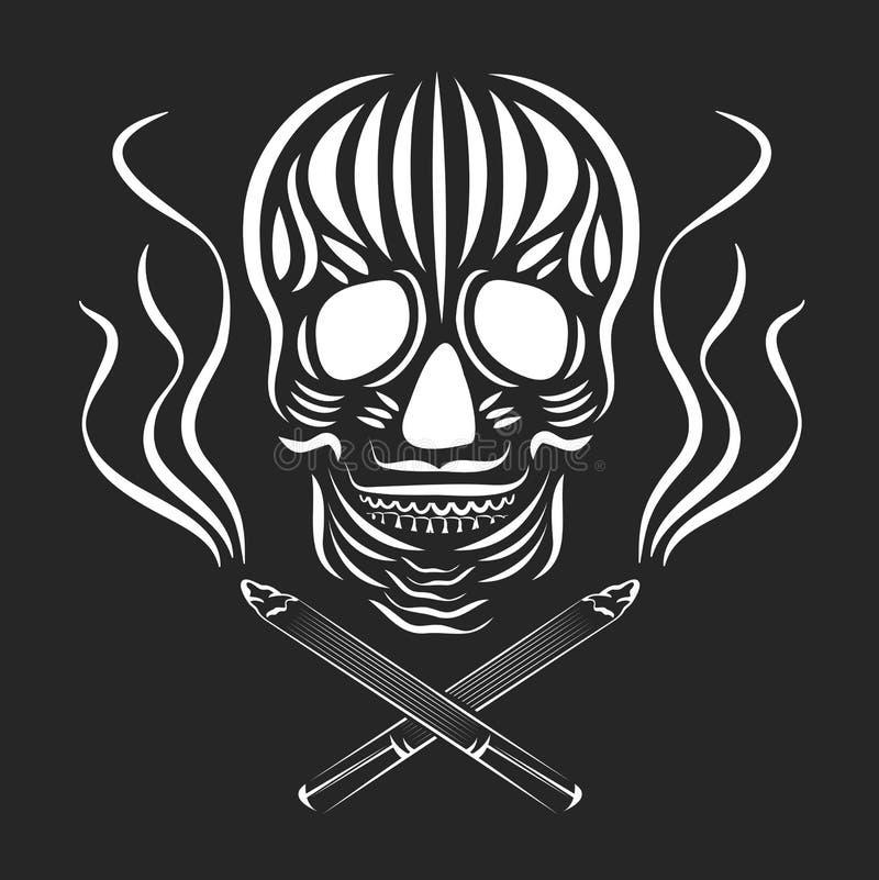 Cranio con le sigarette ed il fumo attraversati Concetto di fumo di danno Giorno dell'illustrazione morta di vettore Retro tatuag illustrazione di stock