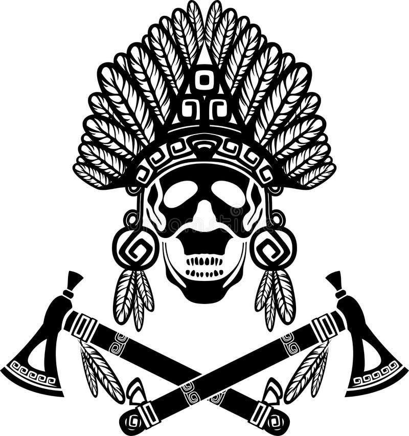 Cranio in copricapo indiano royalty illustrazione gratis