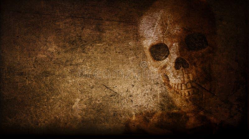Cranio d'annata artistico astratto dipinto su un fondo della parete illustrazione di stock