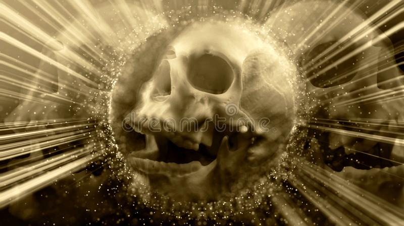 Cranio d'ardore d'annata terrificante astratto artistico fotografia stock libera da diritti