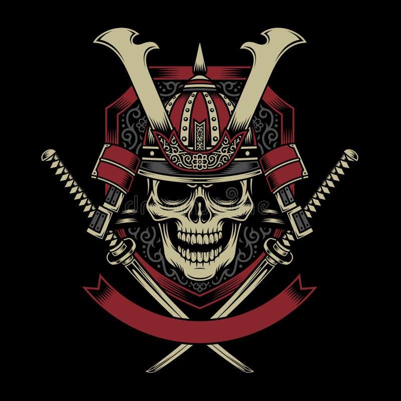 Cranio del guerriero del samurai con Katana Swords attraversato illustrazione di stock