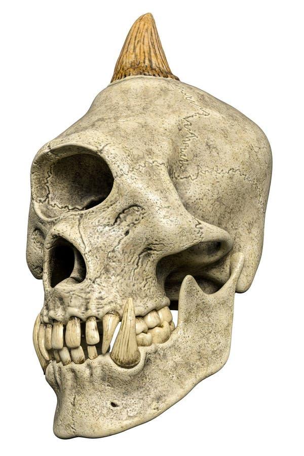 Cranio del mostro di ciclope in un fondo bianco illustrazione di stock