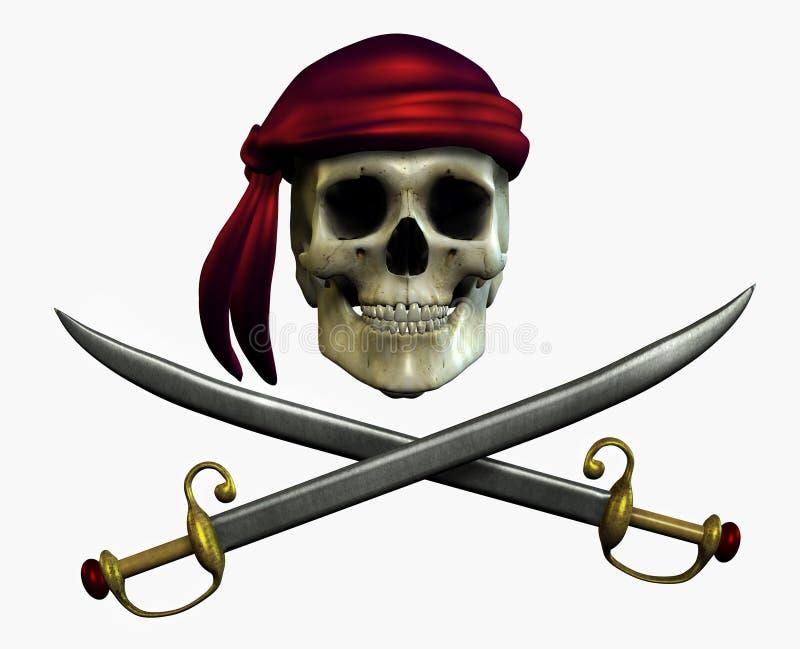 Cranio del pirata - include il percorso di residuo della potatura meccanica illustrazione vettoriale