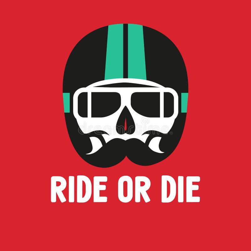 Cranio del segno nel casco di moto, stampa sulla maglietta illustrazione vettoriale