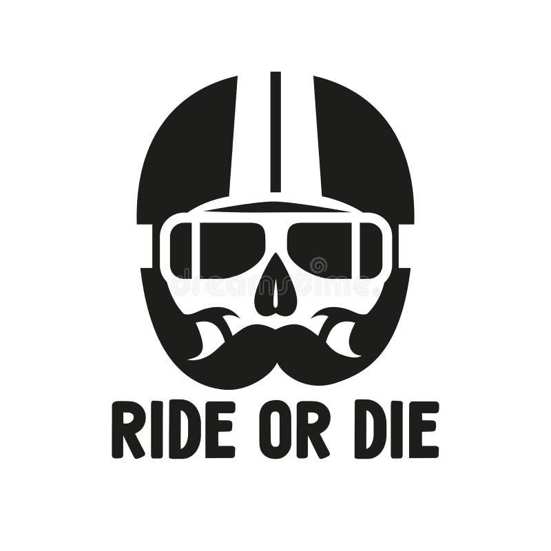 Cranio del segno nel casco di moto, stampa sulla maglietta illustrazione di stock