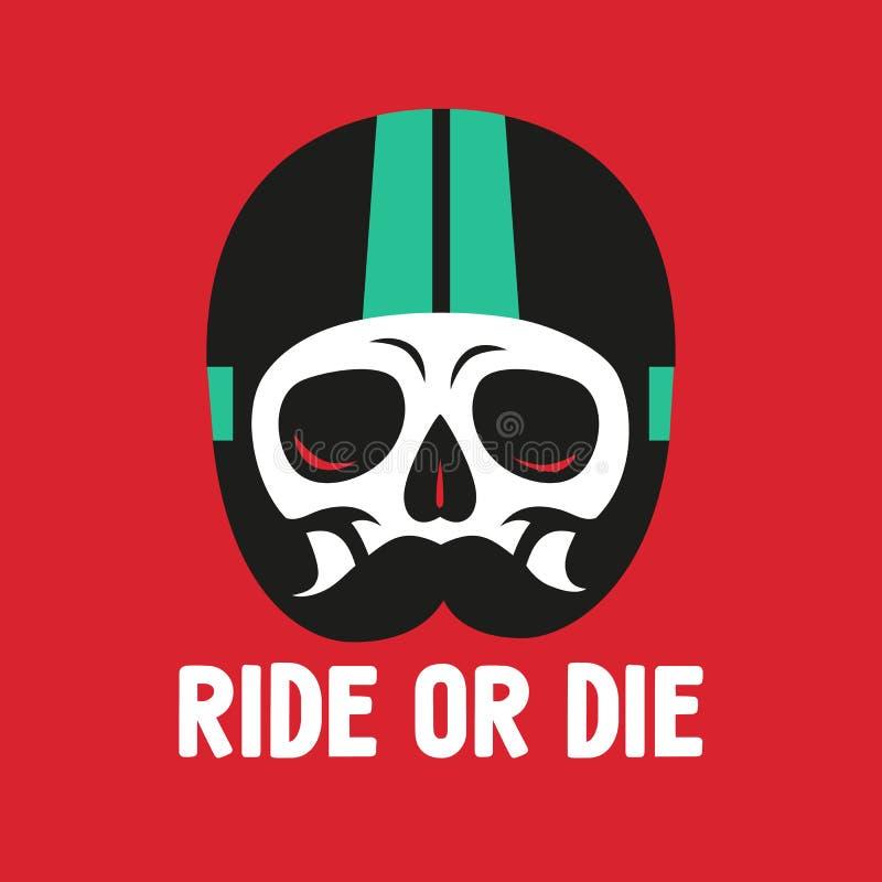 Cranio del segno nel casco di moto, stampa sulla maglietta royalty illustrazione gratis