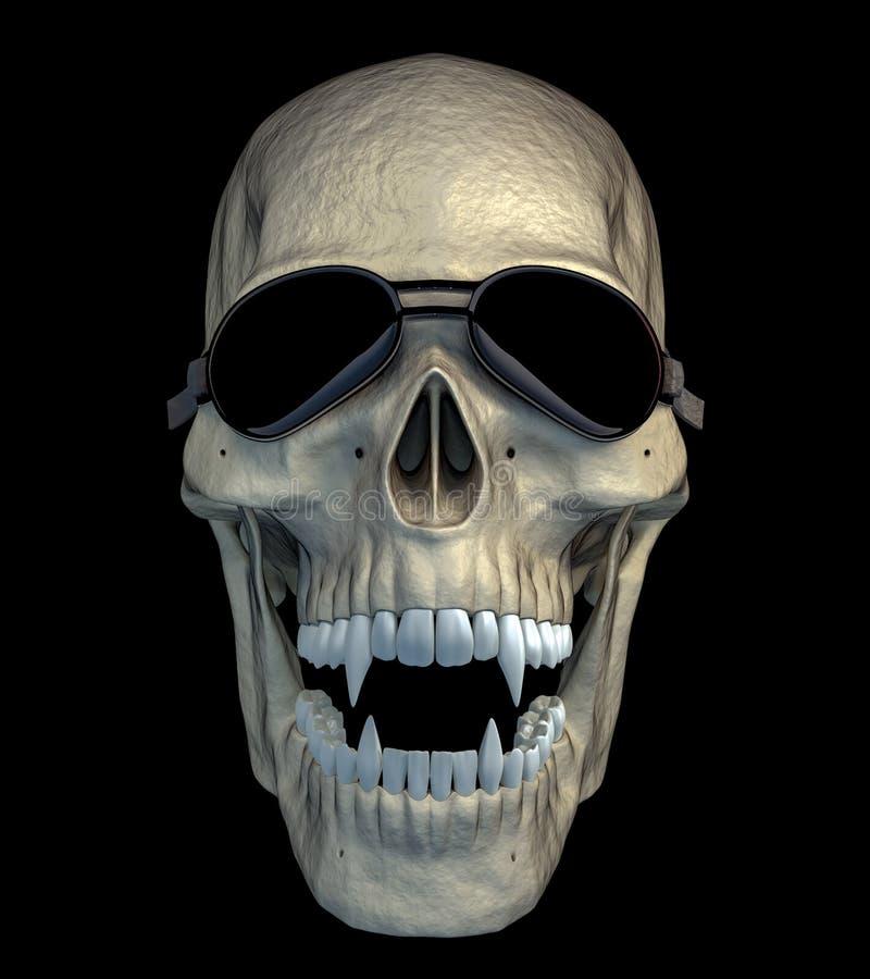 Cranio del vampiro con gli occhiali di protezione divertenti del motociclo fotografia stock libera da diritti