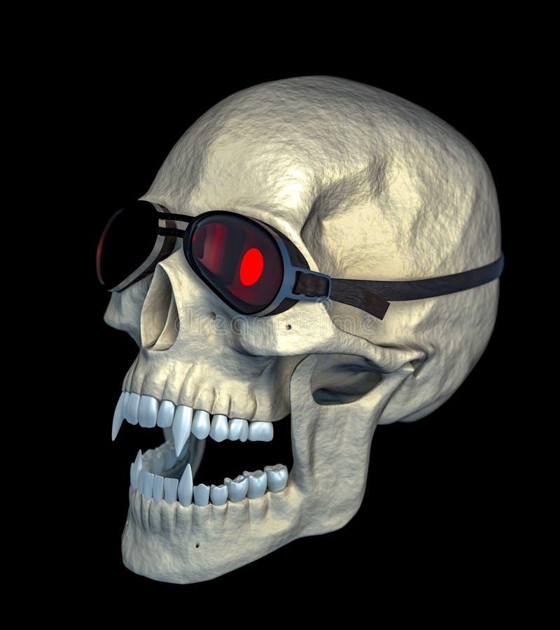 Cranio del vampiro con gli occhiali di protezione divertenti del motociclo immagine stock