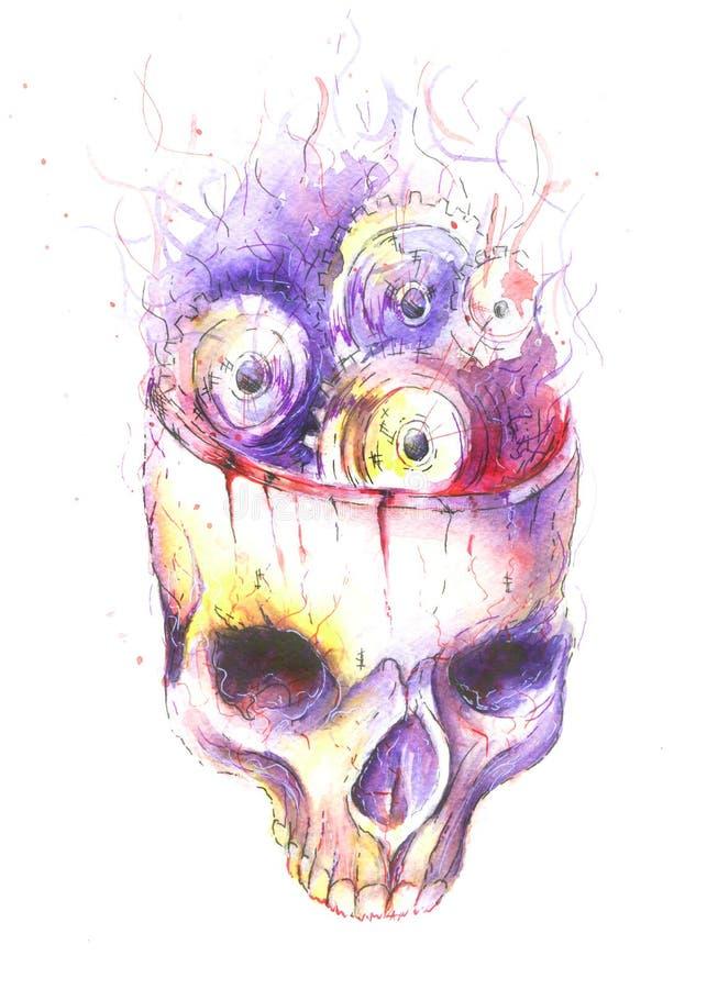 Cranio dell'acquerello di Steampunk royalty illustrazione gratis