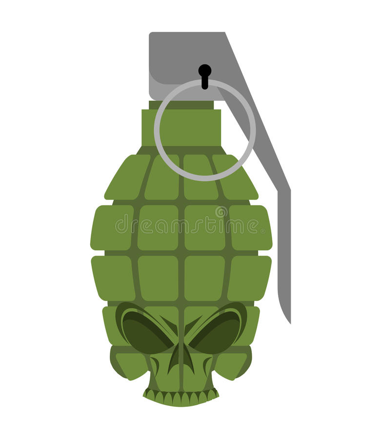 Cranio della granata Munizioni militari di scheletro cape skul della bomba dell'esercito illustrazione di stock