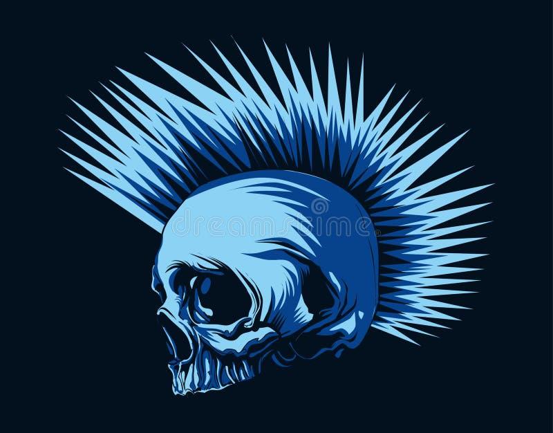 Cranio della testa di punk di orrore nel fondo blu scuro illustrazione vettoriale
