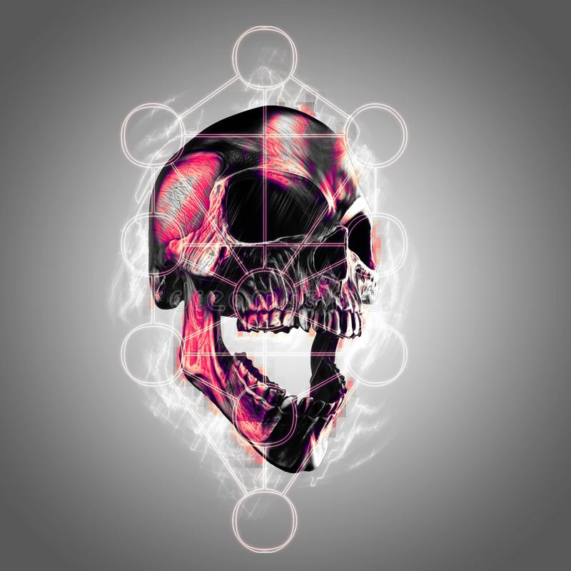 Cranio di grido del metallo scuro con il simbolo dell'albero della vita illustrazione vettoriale