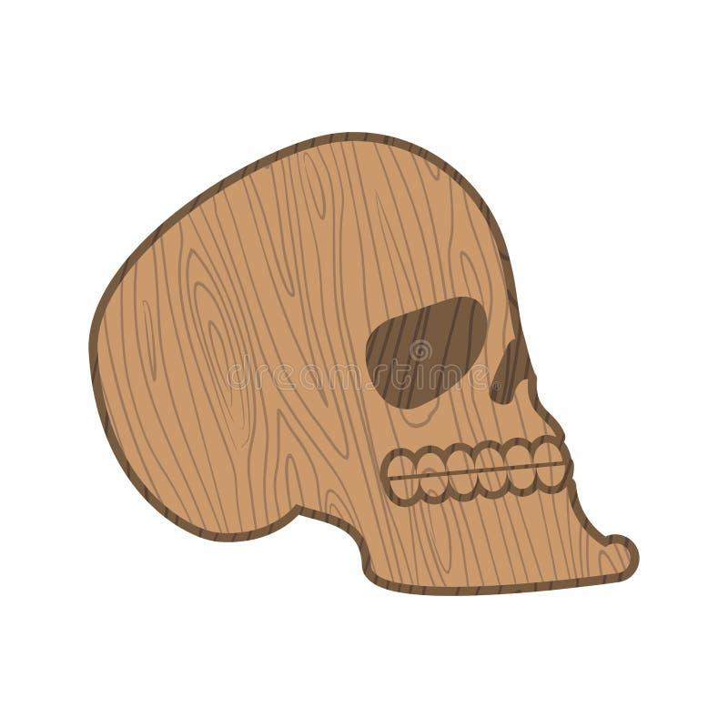 Cranio di legno Teste dello scheletro di legno isolato su backgr bianco illustrazione di stock