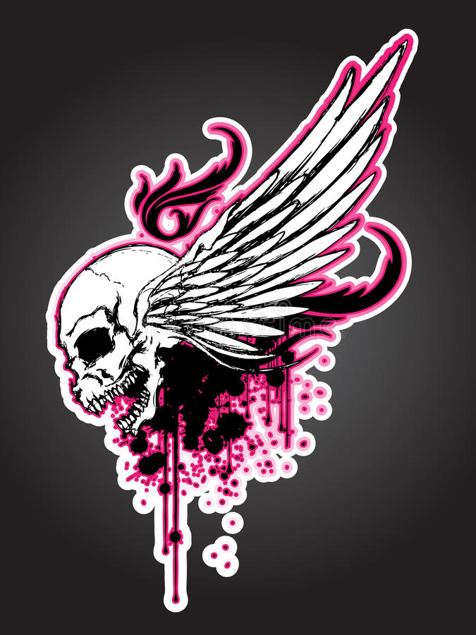 Cranio di rancore con l'ala illustrazione vettoriale