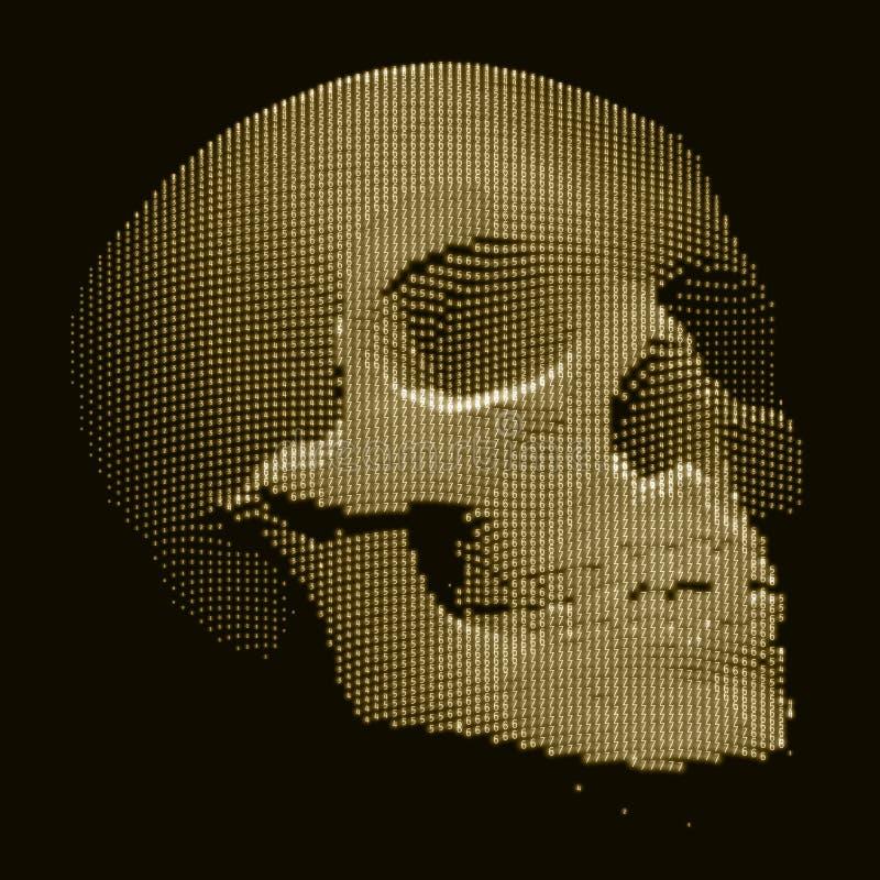 Cranio di vettore costruito con i numeri casuali Illustrazione di concetto di sicurezza di Internet Estratto di malware o del vir illustrazione vettoriale