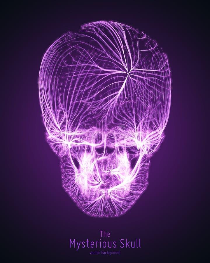 Cranio di vettore costruito con le linee viola Fonte misteriosa di fondo di vita Illustrazione di concetto di sicurezza di Intern illustrazione di stock