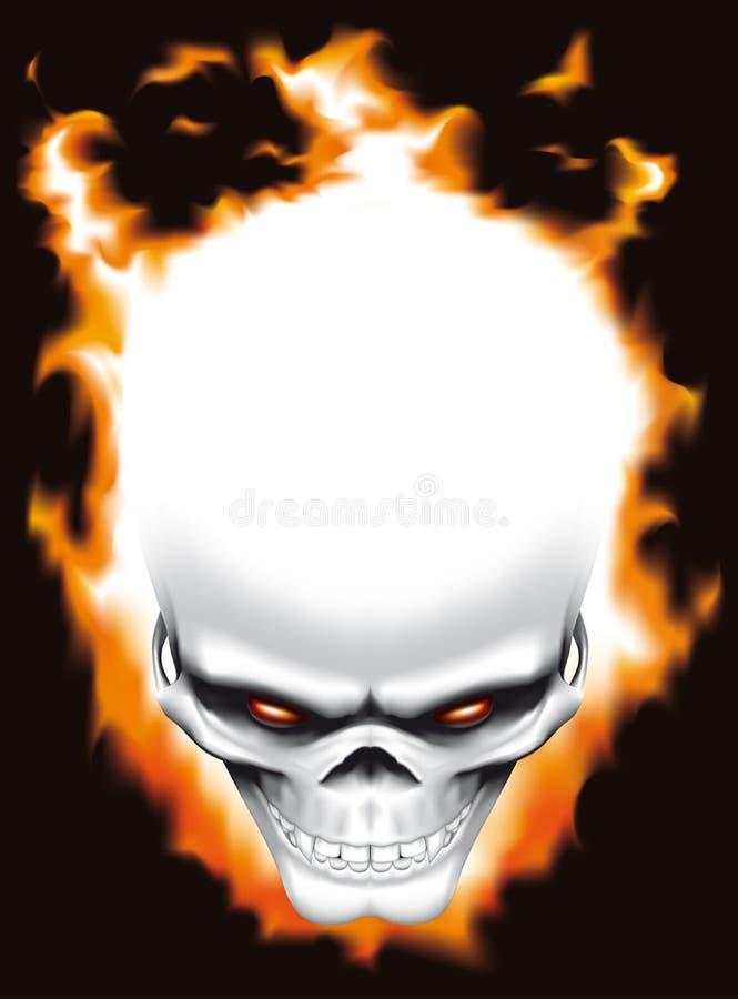 Cranio diabolico su fuoco illustrazione di stock