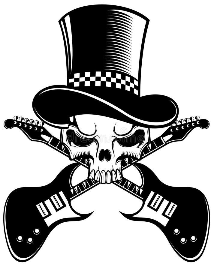 Cranio e chitarre illustrazione vettoriale