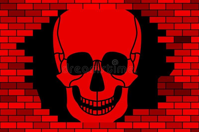Cranio e parete rotta illustrazione di stock