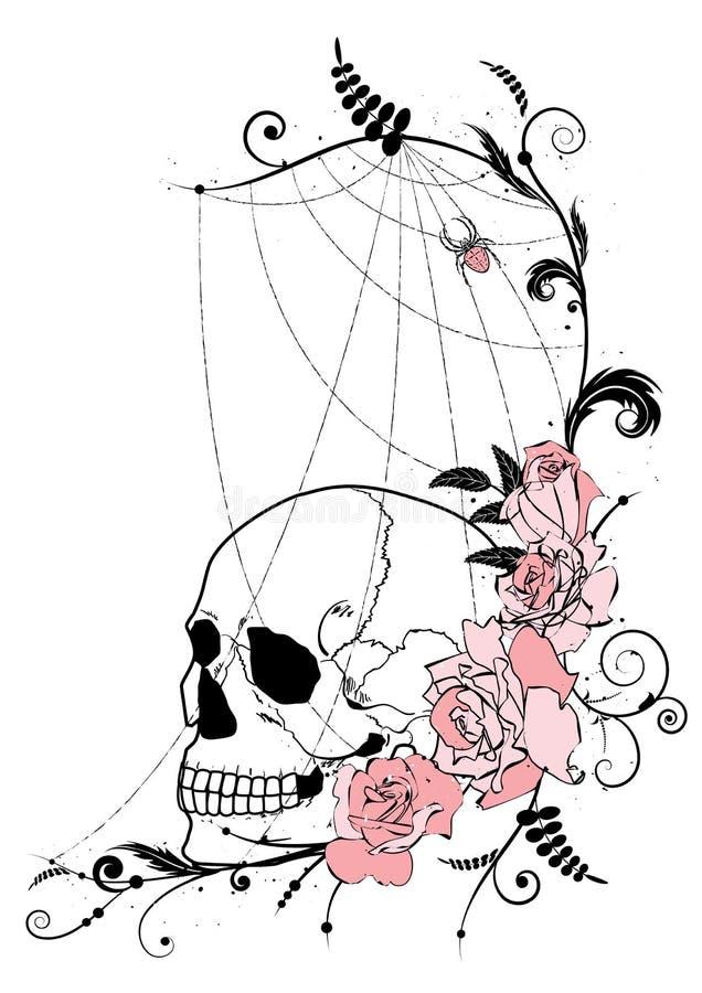 Cranio e rose illustrazione di stock