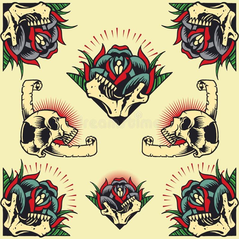 Cranio e Rose Frames illustrazione di stock