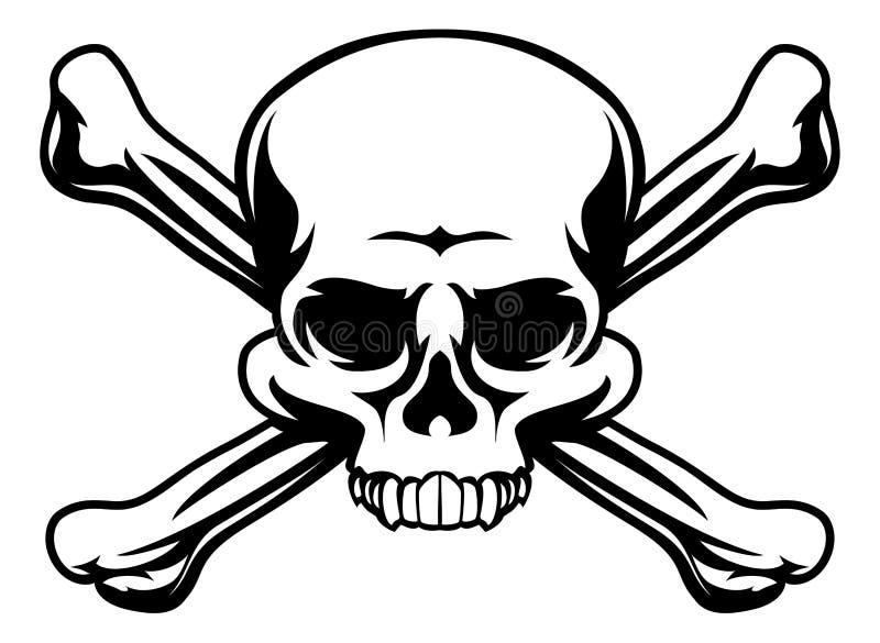 Cranio e simbolo di tibie incrociate illustrazione di stock