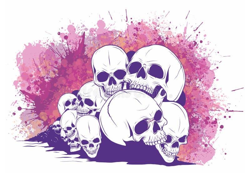 Cranio e tibie incrociate crani ed ossa umani con profondità di campo bassa illustrazione di stock