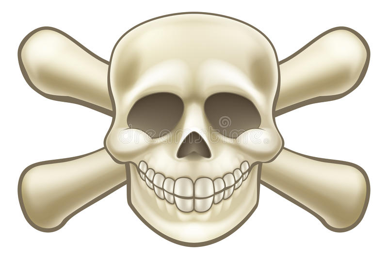 Cranio e tibie incrociate del pirata del fumetto illustrazione di stock