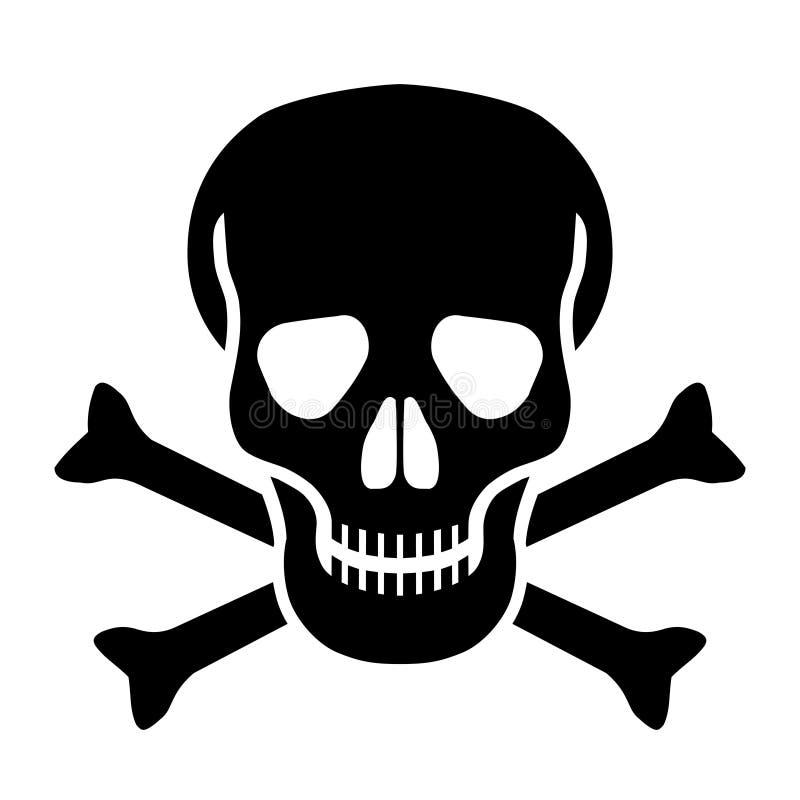 Cranio ed icona di nero d'ossa illustrazione di stock