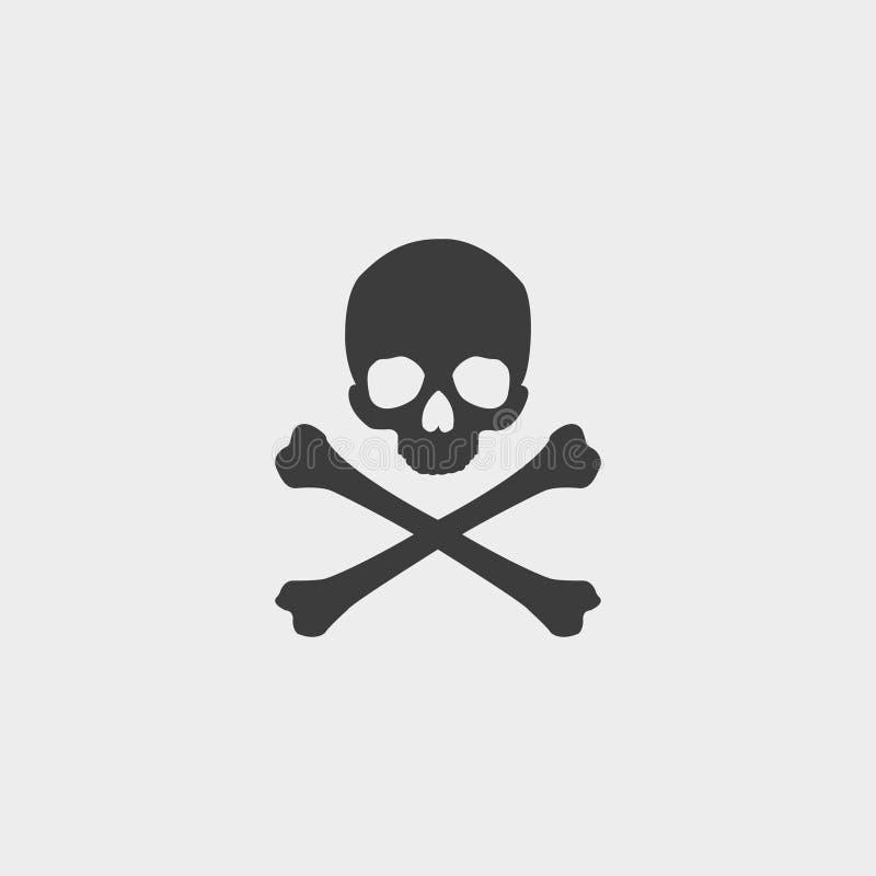 Cranio ed icona di tibie incrociate in una progettazione piana nel colore nero Illustrazione EPS10 di vettore illustrazione di stock