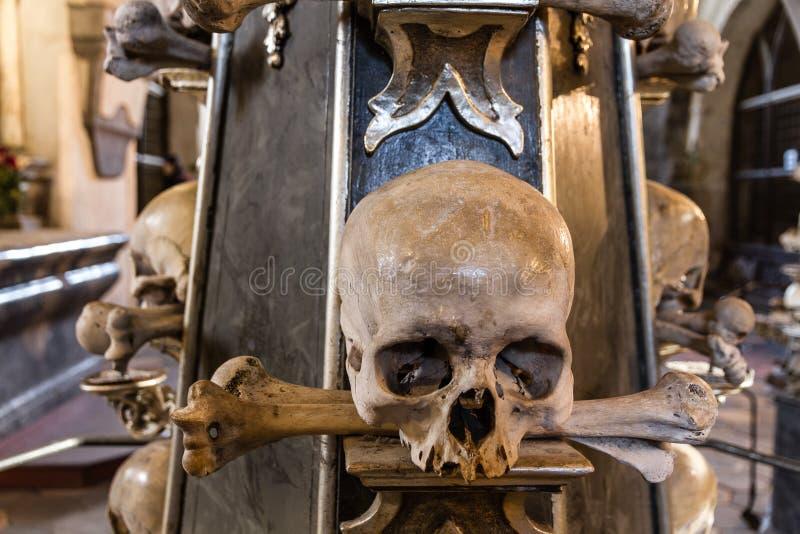 Cranio ed ossa nella cappella-Sedlec dell'osso, Kutna Hora immagine stock libera da diritti