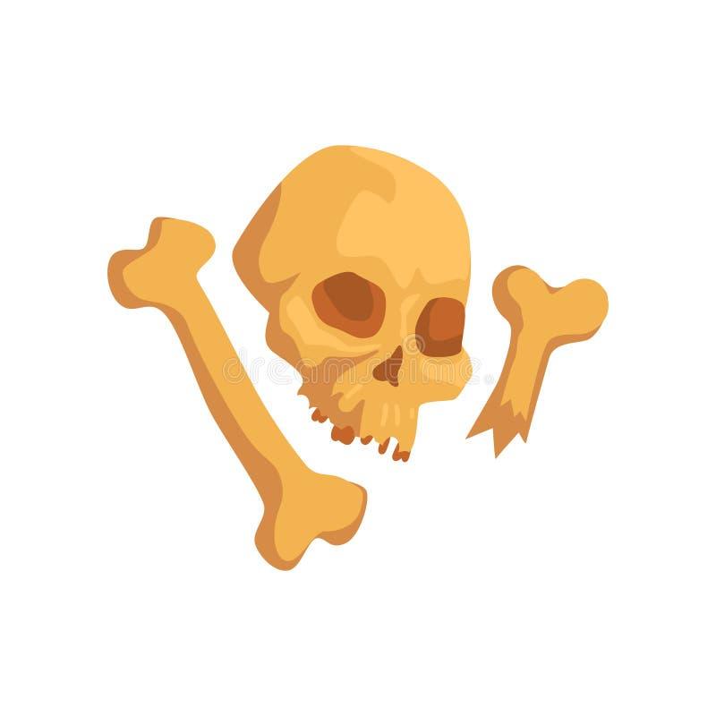 Cranio ed ossa umani, simbolo di civilizzazione di maya, illustrazione tribale americana di vettore dell'elemento della cultura s illustrazione vettoriale