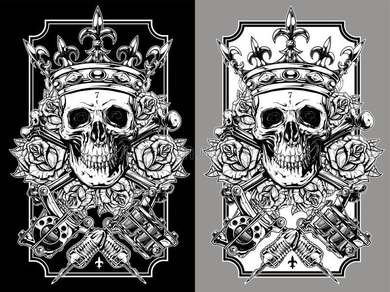 Cranio grafico con le macchine attraversate del tatuaggio messe royalty illustrazione gratis