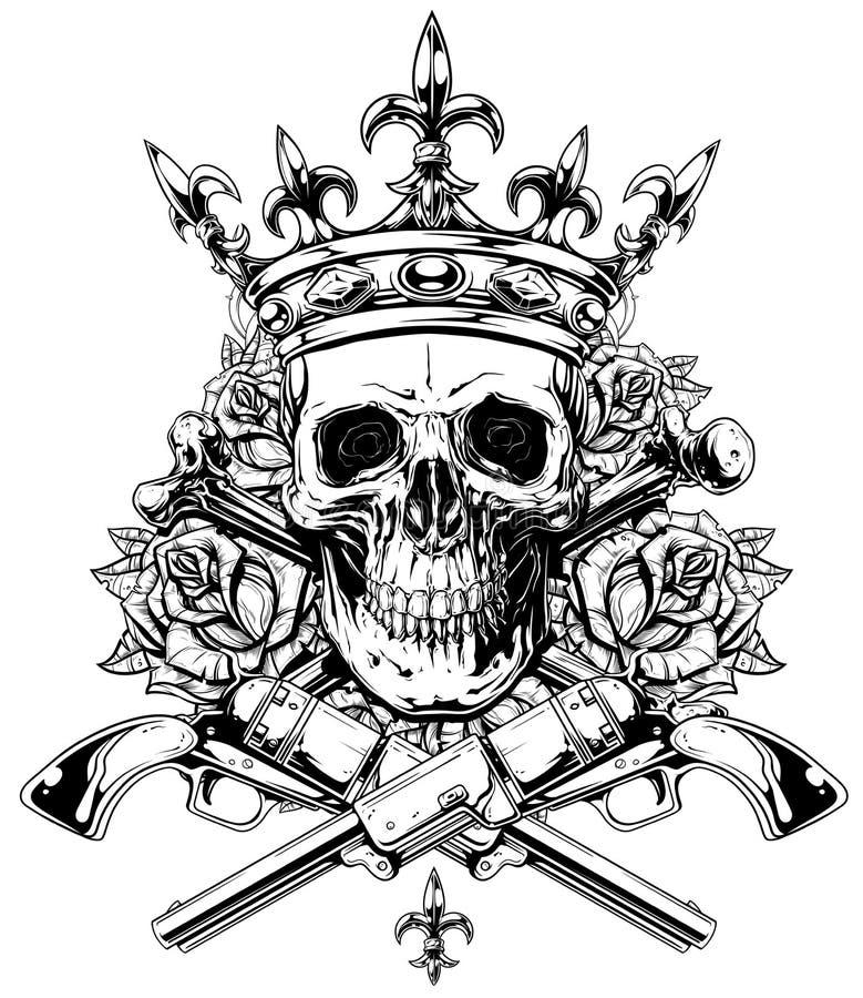 Cranio grafico con le ossa ed i revolver attraversati illustrazione di stock