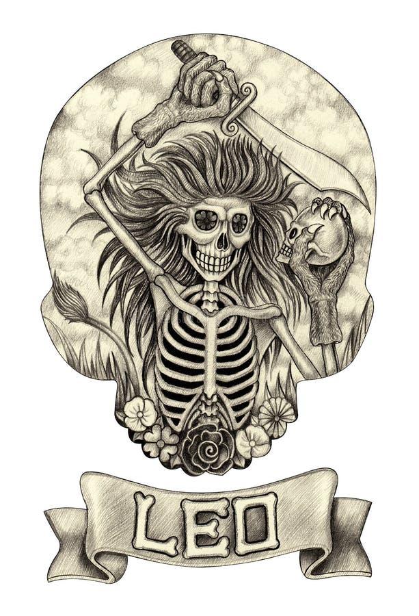 Cranio Leo dello zodiaco Disegno della mano sul documento illustrazione vettoriale
