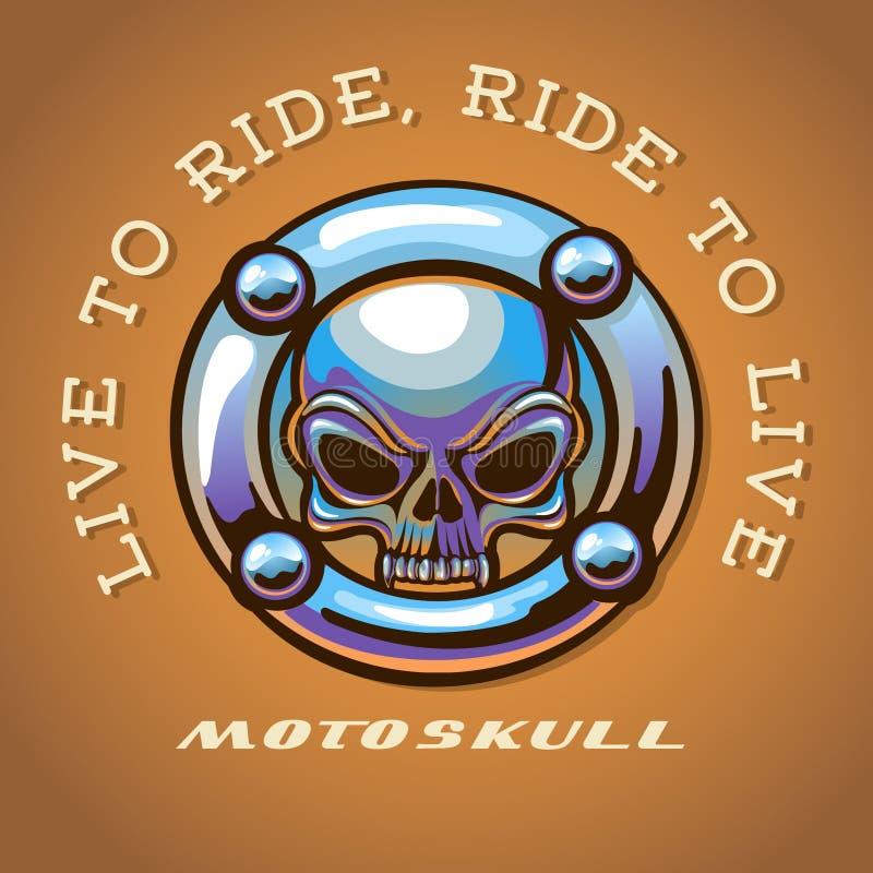 Cranio Logo Chrome del motociclista illustrazione di stock
