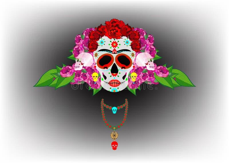 Cranio messicano, Calavera con i fiori Decorazione per il giorno dei morti, Dia de los Muertos Fondo del manifesto di Halloween, illustrazione di stock
