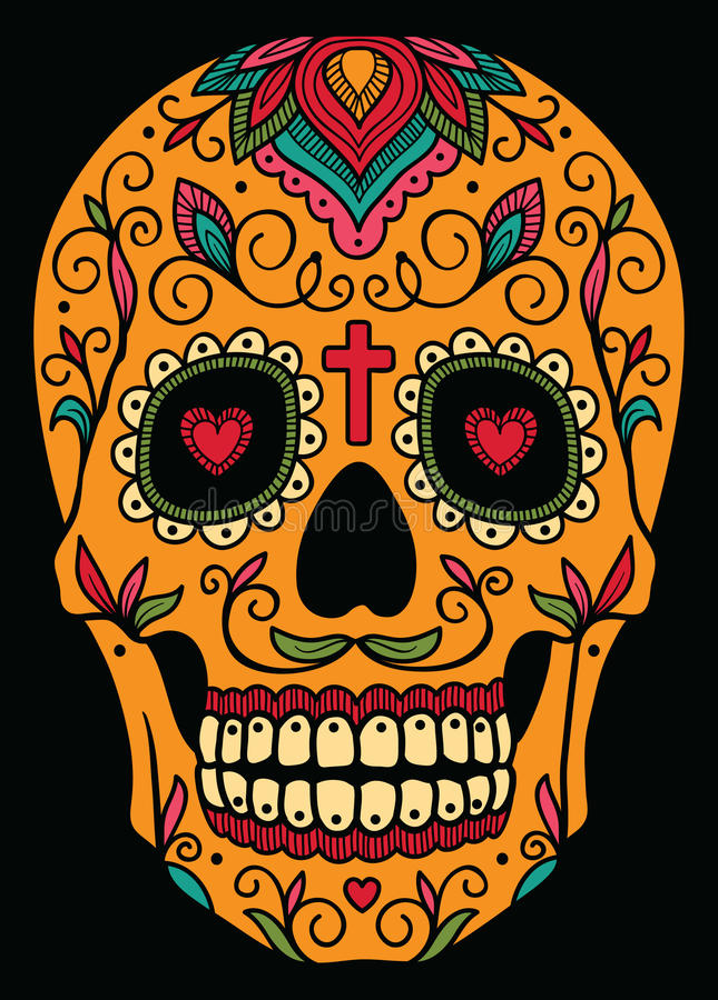 Cranio messicano dello zucchero illustrazione di stock