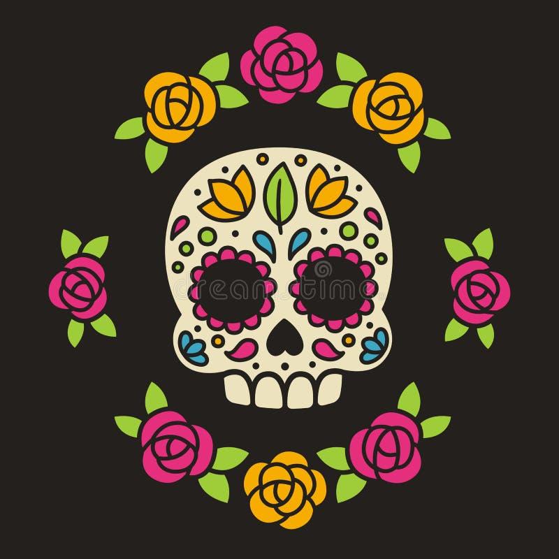Cranio messicano dello zucchero con i fiori illustrazione di stock