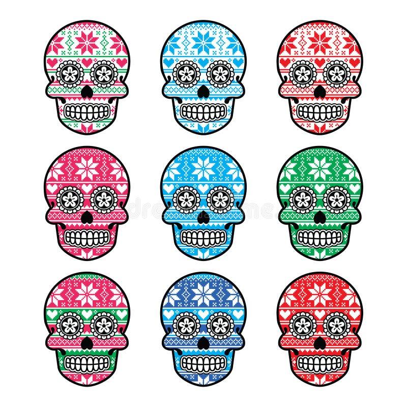 Cranio messicano dello zucchero con il modello del nordico di inverno royalty illustrazione gratis