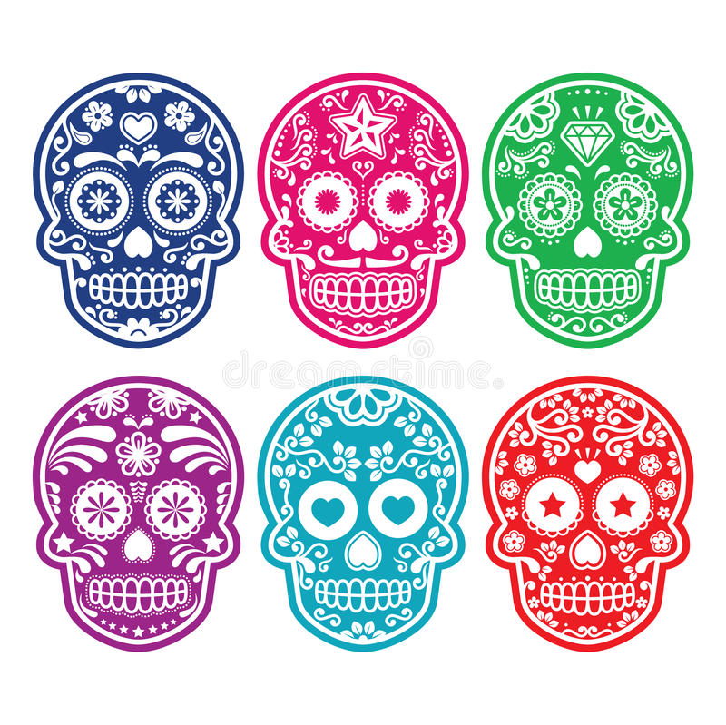 Cranio messicano dello zucchero, icone variopinte di Dia de los Muertos messe illustrazione vettoriale