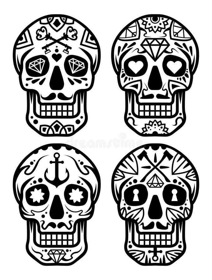 """Cranio messicano dello zucchero, illustrazione delle azione del illustration†delle azione """"del set†delle icone """"di Dia de los royalty illustrazione gratis"""