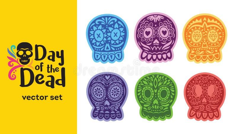 Cranio messicano dello zucchero Insieme di Dia de los Muertos Illustrazione di vettore illustrazione di stock