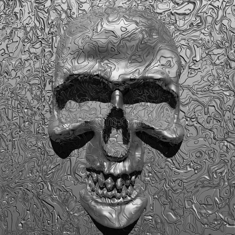 Cranio metallico astratto su metallo liquido illustrazione di stock