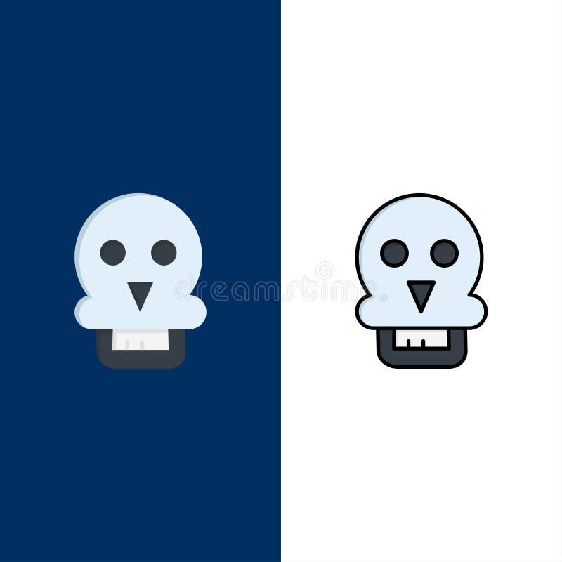 Cranio, morte del cranio, medica, icone dell'uomo Il piano e la linea icona riempita hanno messo il fondo blu di vettore royalty illustrazione gratis