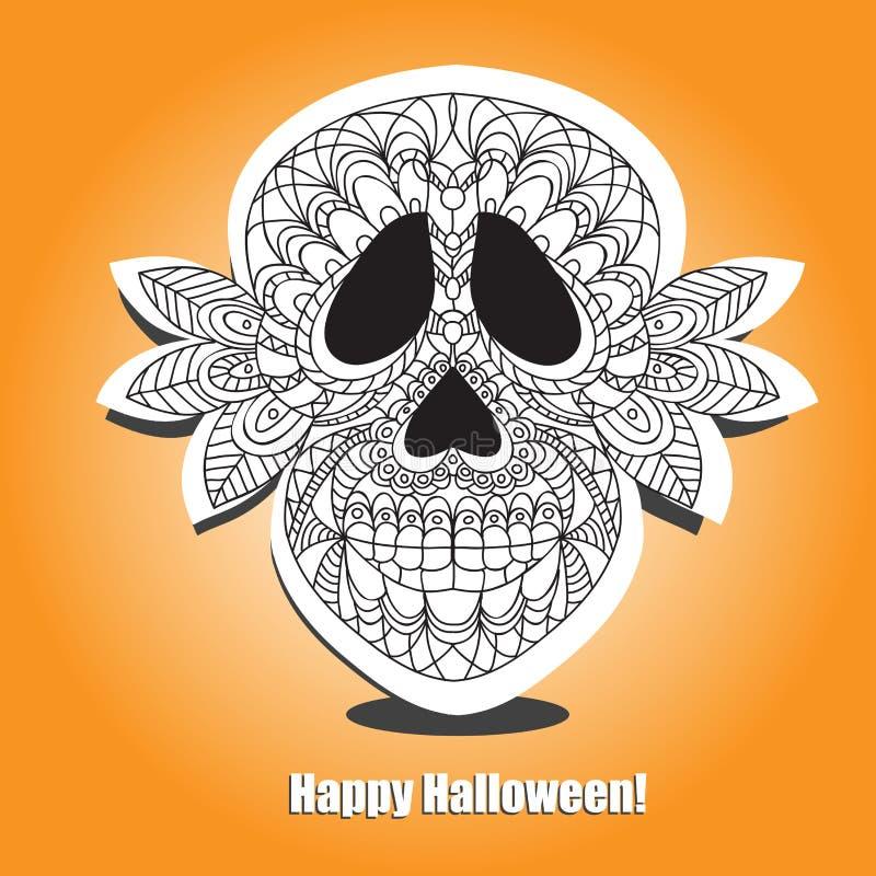 Cranio morto - helloween la carta illustrazione di stock