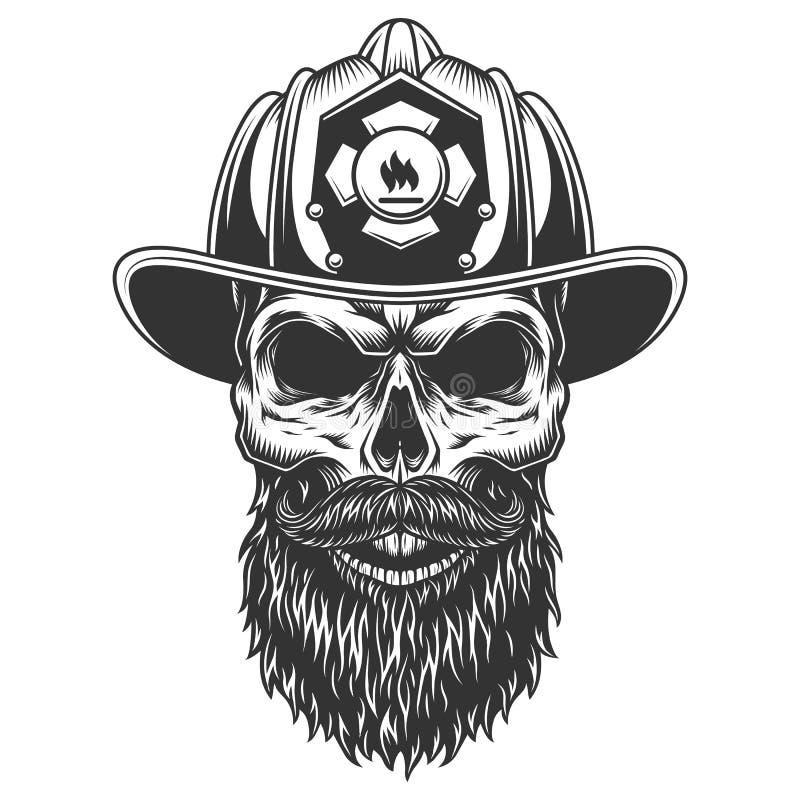 Cranio nel cappello del vigile del fuoco royalty illustrazione gratis