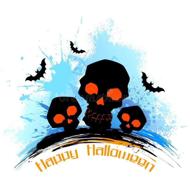 Cranio nel fondo grungy di Halloween illustrazione di stock